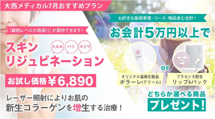 大西メディカル7月おすすめプラン スキンリジュミネーションお試し価格¥6890 お会計5万円以上で選べるプレゼント オリジナル基礎化粧品ポラーレ(クリーム) プラセンタ配合ソレ・プラリップとソレデュー・ホワイトマスクセット